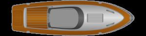 Hilfe beim Anlegen: Motorboot mit festem Antrieb und Ruder